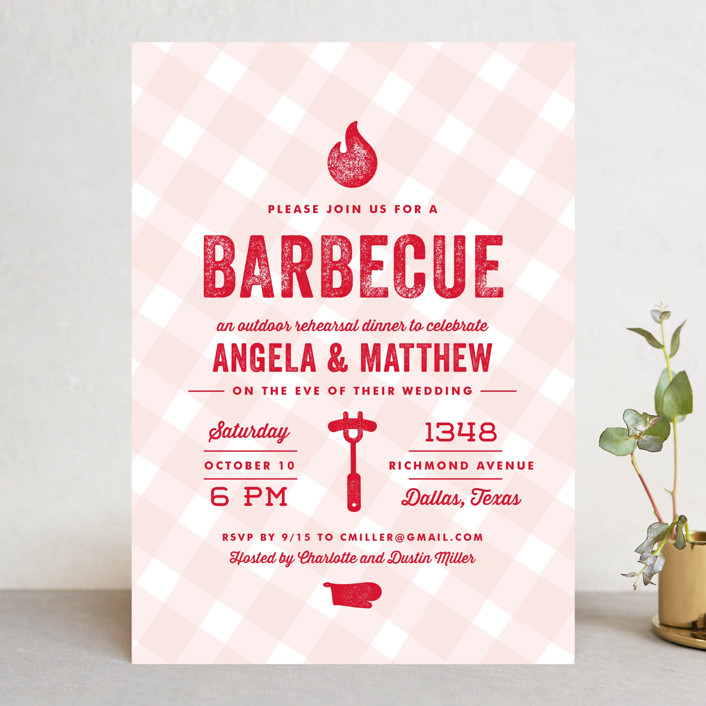 Rehearsal BBQ Dinner Invitations ByLauren Chism Dallas TX Front