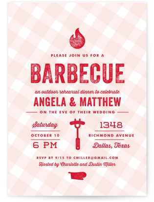 Rehearsal BBQ Rehearsal Dinner Invitations