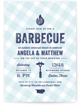 This is a blue rehearsal dinner invitation by Lauren Chism called Rehearsal BBQ with standard printing on signature in standard.