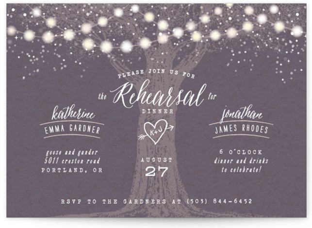 This is a landscape illustrative, rustic, purple Rehearsal Dinner Invitations by Hooray Creative called Garden Lights with Standard printing on Signature in Classic Flat Card format. Our unique wedding party invitations are fully customizable, sourced from independent designers and printed ...