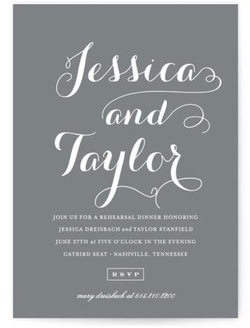 This is a portrait modern, simple and minimalist, grey Rehearsal Dinner Invitations by Sara Hicks Malone called Just Lovely with Standard printing on Signature in Classic Flat Card format. Our unique wedding party invitations are fully customizable, sourced from independent ...