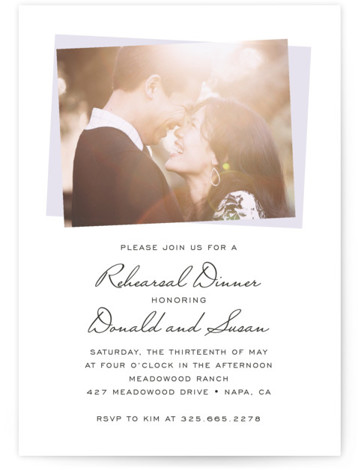 This is a portrait purple Rehearsal Dinner Invitations by SimpleTe Design called Romantic Frame with Standard printing on Signature in Classic Flat Card format. Our unique wedding party invitations are fully customizable, sourced from independent designers and printed on luxe ...