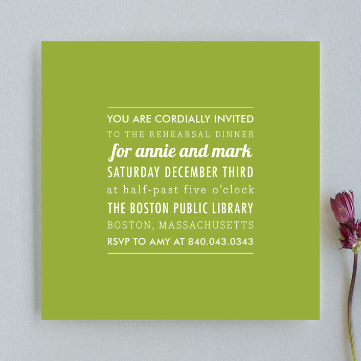 The Square Types Rehearsal Dinner Invitation