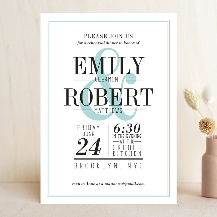 Wed in Type Rehearsal Dinner Invitation