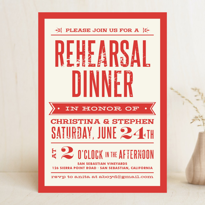 Woodtype Poster Rehearsal Dinner Invitation