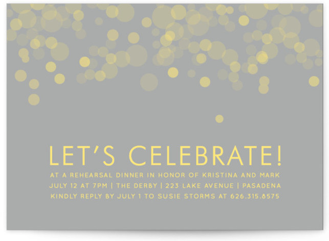 This is a landscape elegant, grey, yellow Rehearsal Dinner Invitations by Michelle Poe called Time for Bubbly with Standard printing on Signature in Classic Flat Card format. A fun, elegant and modern invitation with bubbles perfect for your celebration.