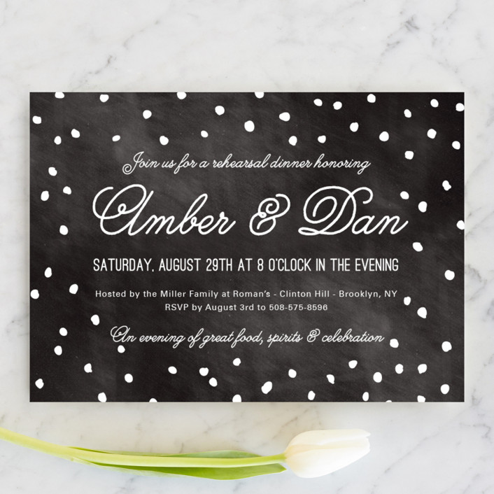"""Enchanted Evening"" - Modern Rehearsal Dinner Invitations in Chalkboard by Yeah Papers."