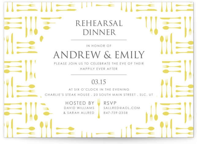 This is a landscape modern, yellow Rehearsal Dinner Invitations by freckle fish called Silverware with Standard printing on Signature in Classic Flat Card format. This modern design features bright colors and lots of contrast with a fun silverware in a ...