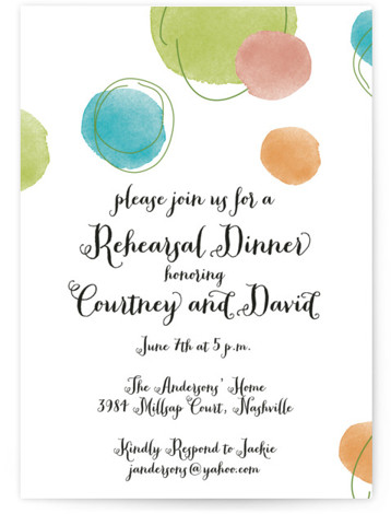 This is a portrait modern, green Rehearsal Dinner Invitations by Kelly Medanich called Watercolor Rings with Standard printing on Signature in Classic Flat Card format. This watercolor inspired engagement party invitation is the perfect way to kick off your wedding ...