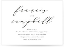 This is a black and white rehearsal dinner invitation by Phrosne Ras called Simple Elegance with standard printing on signature in standard.