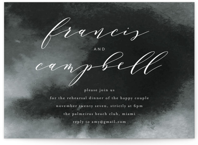 This is a bold and typographic, classic and formal, simple and minimalist, grey Rehearsal Dinner Invitations by Phrosne Ras called Simple Elegance with Standard printing on Signature in Classic Flat Card format. A timeless design with beautiful calligraphy style text. ...
