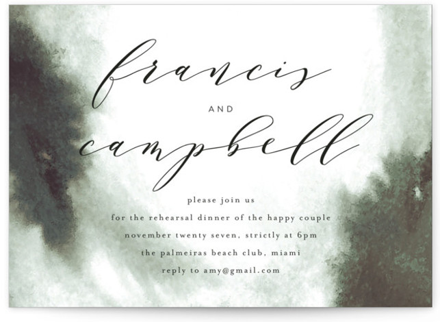 This is a bold and typographic, classic and formal, simple and minimalist, green Rehearsal Dinner Invitations by Phrosne Ras called Simple Elegance with Standard printing on Signature in Classic Flat Card format. A timeless design with beautiful calligraphy style text. ...