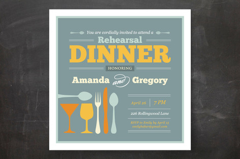 Let's Go to Dinner Rehearsal Dinner Invitations