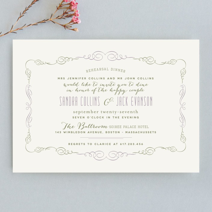 """Sophisticated Soiree"" - Formal Rehearsal Dinner Invitations in Lavander by chocomocacino."