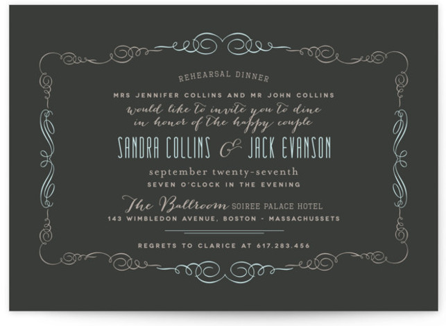 This is a landscape formal, blue Rehearsal Dinner Invitations by chocomocacino called Sophisticated Soiree with Standard printing on Signature in Classic Flat Card format. Our unique wedding party invitations are fully customizable, sourced from independent designers and printed on luxe ...