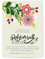 This is a beige rehearsal dinner invitation by Alethea and Ruth called Festive Florals with standard printing on signature in standard.