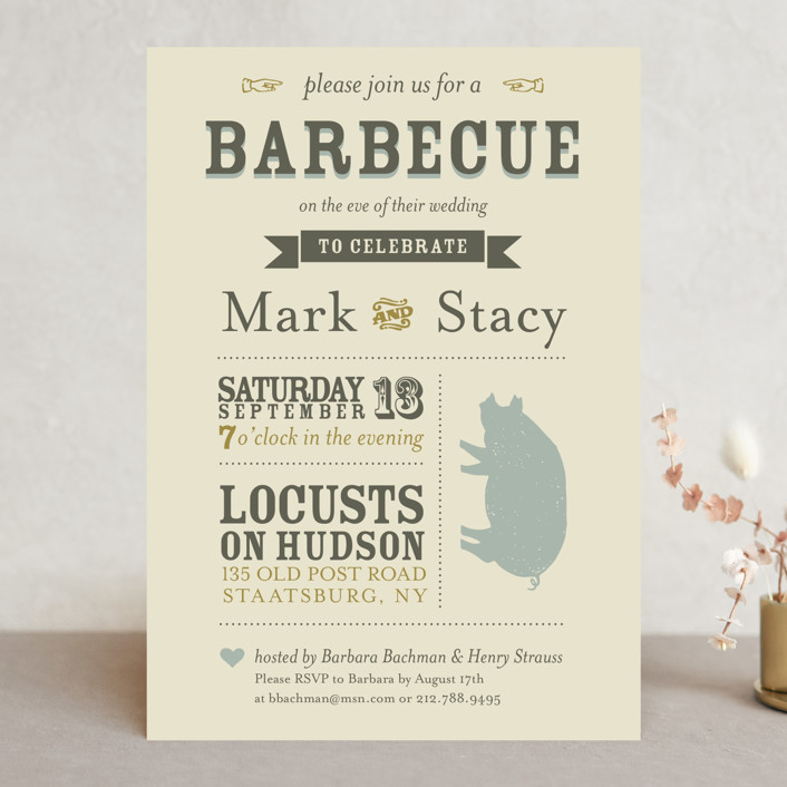 """""""A Heartfelt Hay Day"""" - Vintage Rehearsal Dinner Invitations in Olive by Kathryn Holeman."""