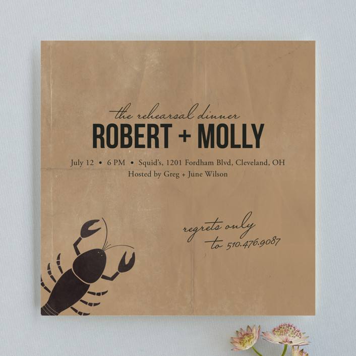 """Lobster Love"" - Vintage Rehearsal Dinner Invitations in Paper Bag by Two Pooch Paperie."