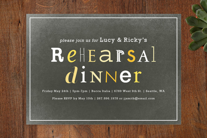 """Eclectic"" - Modern Rehearsal Dinner Invitations in Chalkboard by Snow and Ivy."