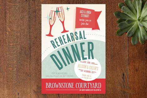 Retro Diner Rehearsal Dinner Invitations