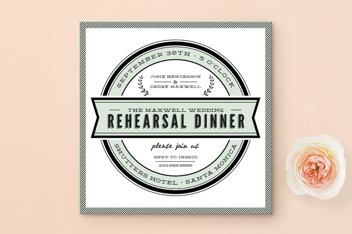 """""""Classic Seal"""" - Modern Rehearsal Dinner Invitations in Mint by trbdesign."""