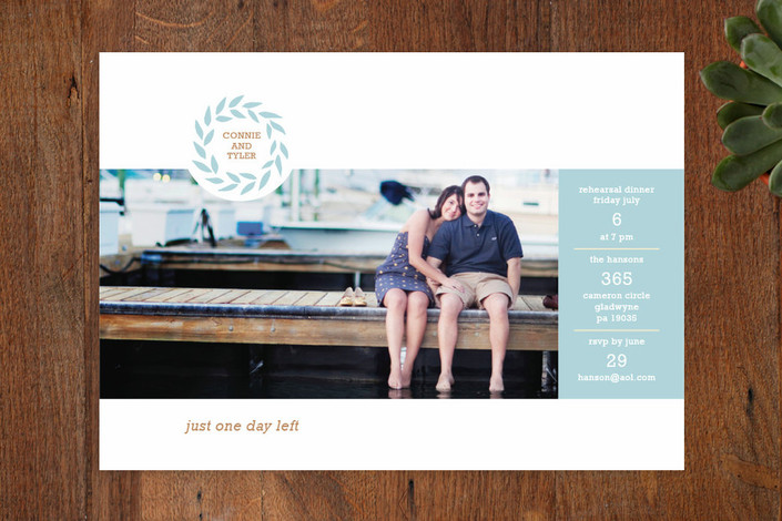 """""""One More Day!"""" - Whimsical & Funny Rehearsal Dinner Invitations in Sky by Carol Fazio."""