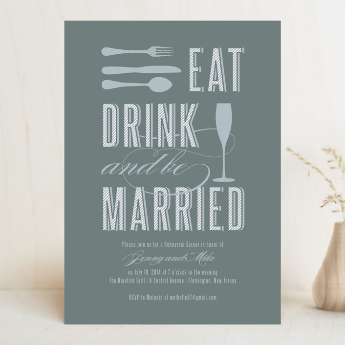 Eat, Drink, and Be Married Rehearsal Dinner Invitation