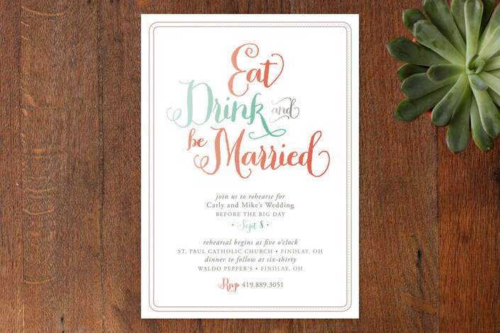"""Be Married"" - Modern Rehearsal Dinner Invitations in Coral Reef by Cheer Up Press."