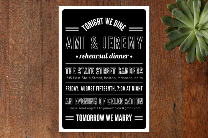 """Tonight We Dine"" - Modern, Bold typographic Rehearsal Dinner Invitations in Ink by Paperful Press."