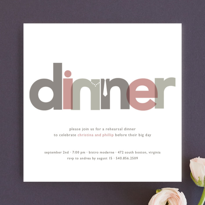 """Dinner Party"" - Simple Rehearsal Dinner Invitations in Rose by Jody Wody."