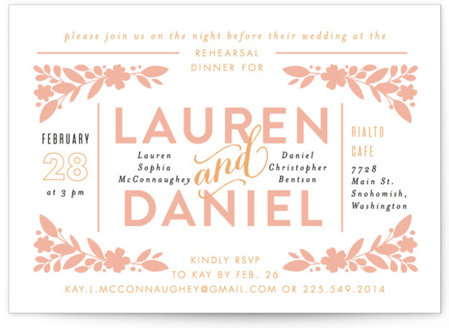 This is a landscape floral, pink Rehearsal Dinner Invitations by Alethea and Ruth called Center Stage with Standard printing on Signature in Classic Flat Card format. This wedding invite features the bride and groom's names front and center.