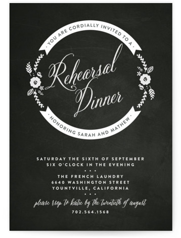 This is a portrait rustic, vintage, black Rehearsal Dinner Invitations by Three Kisses Studio called French Frame with Standard printing on Signature in Classic Flat Card format. With an old world charm and subtle color palette, this design sets the ...