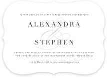 This is a blue rehearsal dinner invitation by Jessica Williams called Ampersand Elegance with standard printing on signature in standard.