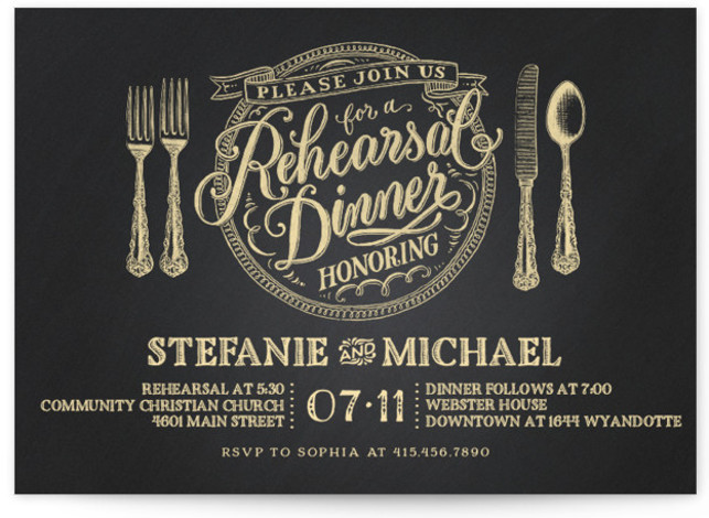 This is a landscape formal, yellow Rehearsal Dinner Invitations by Laura Bolter Design called Chalkboard Place Setting with Standard printing on Signature in Classic Flat Card format. An elegant place setting incorporates a beautiful hand lettered illustration on a chalkboard ...