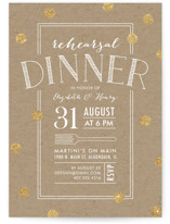 This is a yellow rehearsal dinner invitation by Erin Deegan called Fork on Kraft with standard printing on signature in standard.