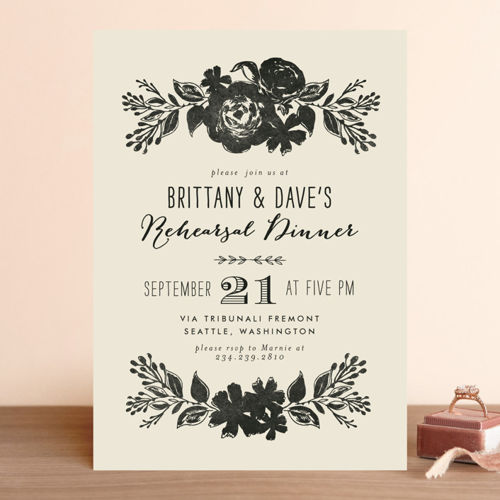 """""""Dramatic Florals"""" - Floral & Botanical, Elegant Rehearsal Dinner Invitations in Ink by Alethea and Ruth."""