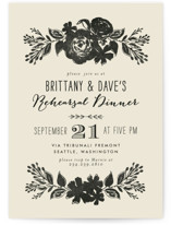 This is a black rehearsal dinner invitation by Alethea and Ruth called Dramatic Florals with standard printing on signature in standard.
