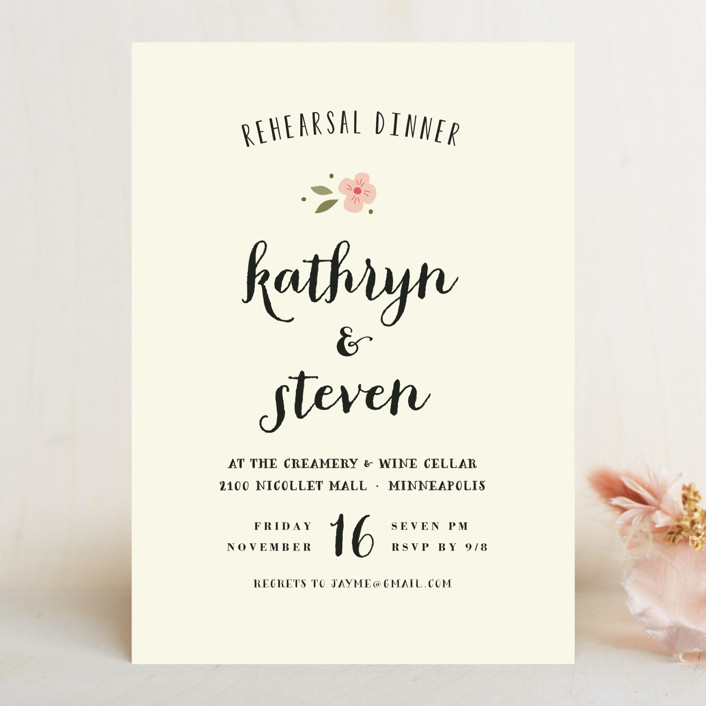 """""""Beginning"""" - Simple, Floral & Botanical Rehearsal Dinner Invitations in Blush by Susan Brown."""