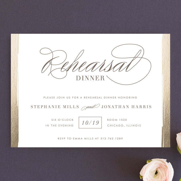 Golden Rehearsal Rehearsal Dinner Invitations by Lehan Veenker Minted