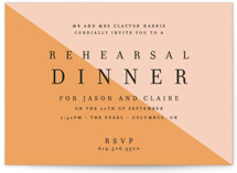 This is a pink rehearsal dinner invitation by Alaina Cherup called Colorblocked Dinner with standard printing on signature in standard.