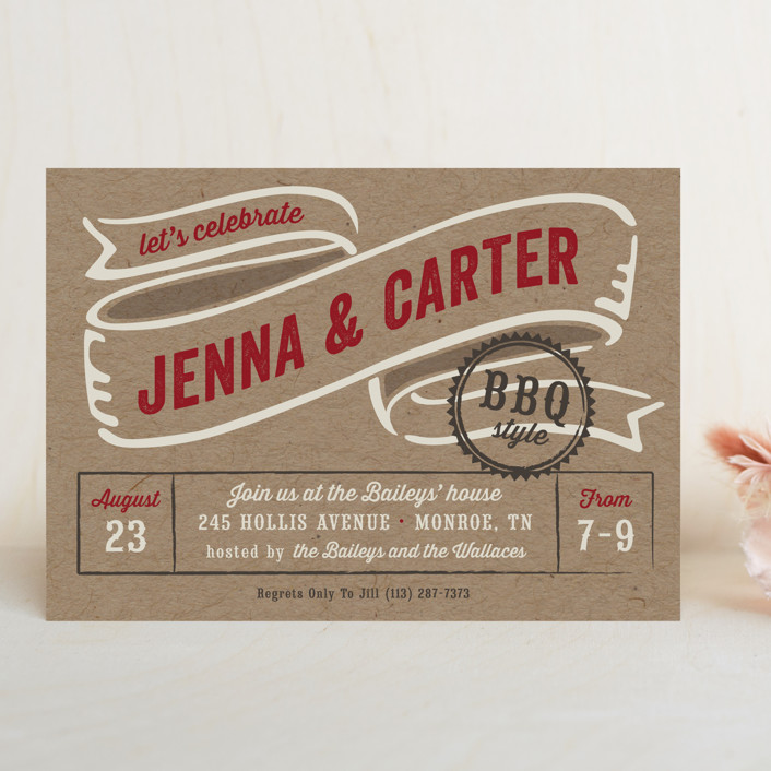 """""""BBQ Style"""" - Rustic, Whimsical & Funny Rehearsal Dinner Invitations in Crimson by Laura Hankins."""