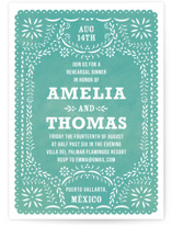 This is a blue rehearsal dinner invitation by root beer float called Fiesta Folk Art with standard printing on signature in standard.