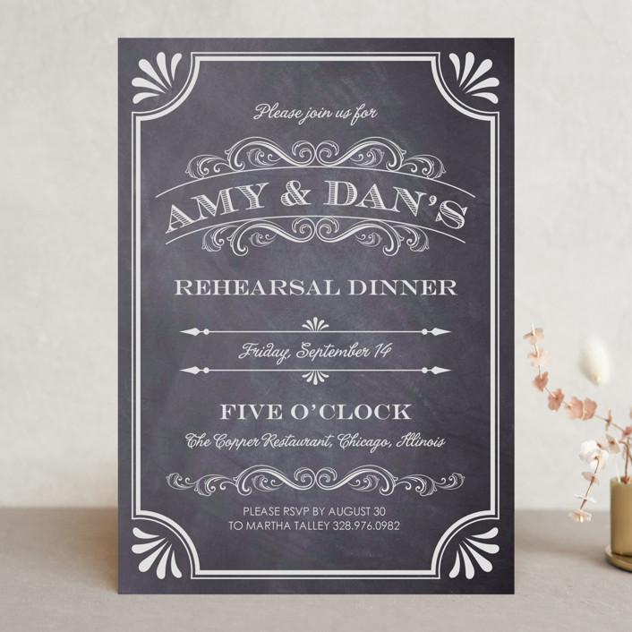 A Chalkboard Marriage Rehearsal Dinner Invitation
