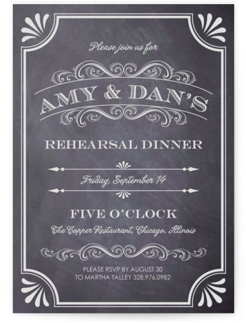 A Chalkboard Marriage Rehearsal Dinner Invitations