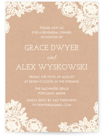 Lace And Kraft Rehearsal Dinner Invitations