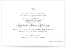 This is a blue rehearsal dinner invitation by danielleb called Charming Go Lightly with standard printing on signature in standard.