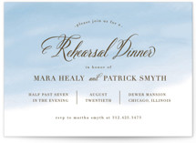 This is a blue rehearsal dinner invitation by Lehan Veenker called Watercolor Wash with standard printing on signature in standard.
