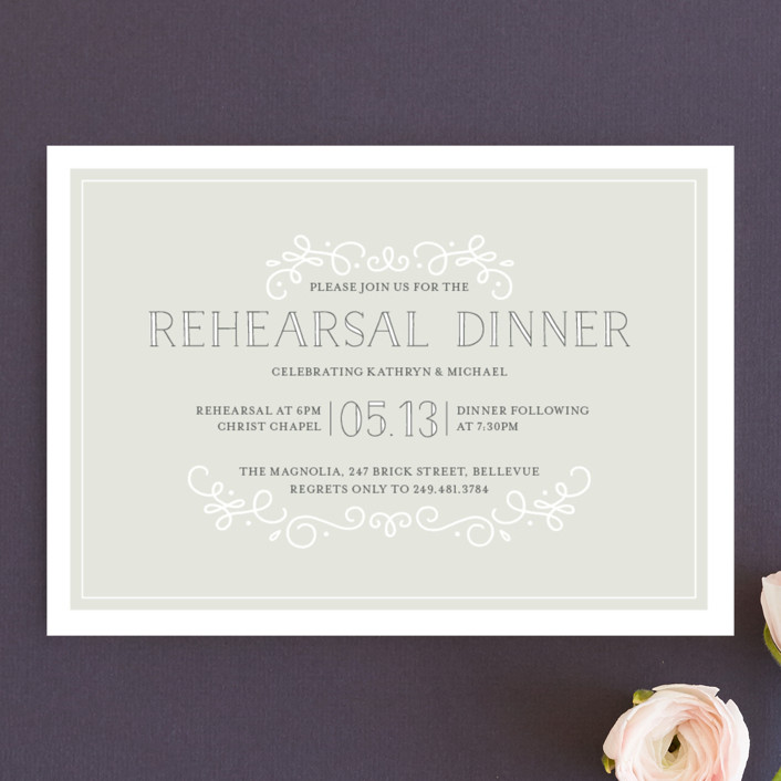 """""""Sophisticate"""" - Formal Rehearsal Dinner Invitations in Cement by Jessica Williams."""