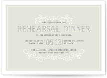 This is a grey rehearsal dinner invitation by Jessica Williams called Sophisticate with standard printing on signature in standard.