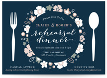 This is a blue rehearsal dinner invitation by Carrie ONeal called Pretty Plate with standard printing on signature in standard.